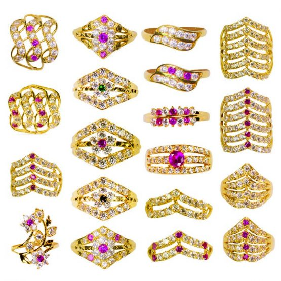 22ct Yellow Gold & CZ Stones Ladies Rings – Mixed Design Bundle 02