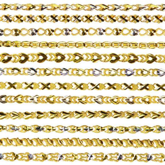 Ladies Single Sided Bracelets 22ct Yellow Gold & Rhodium Bundle 02