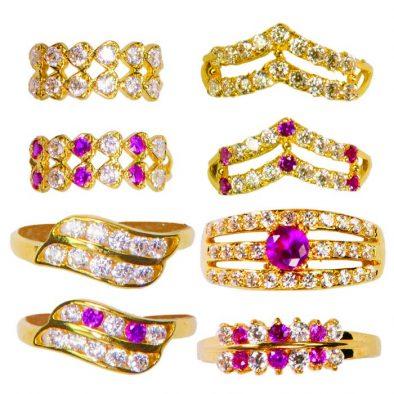 22ct Yellow Gold & CZ Stones Ladies Rings – Mixed Design Bundle 06
