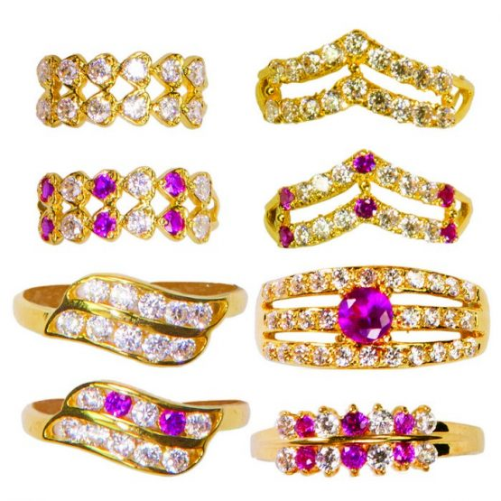 22ct Yellow Gold & CZ Stones Ladies Rings – Mixed Design Bundle 06