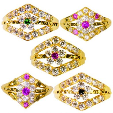 22ct Yellow Gold & CZ Stones Ladies Rings – Mixed Design Bundle 04