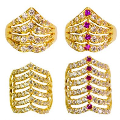 22ct Yellow Gold & CZ Stones Ladies Rings – Mixed Design Bundle 05