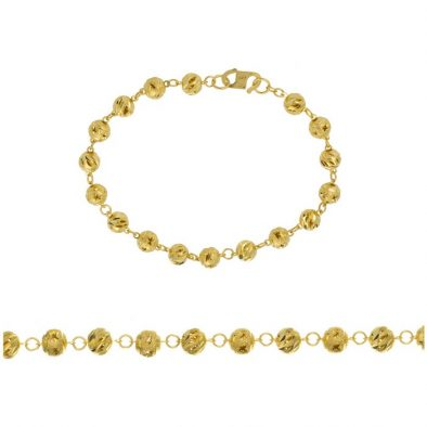 Ladies Bracelet - Fancy Ball Design 22ct Yellow Gold 01