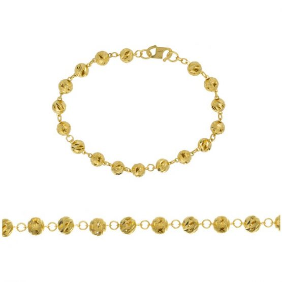Ladies Bracelet - Fancy Ball Design 22ct Yellow Gold 01