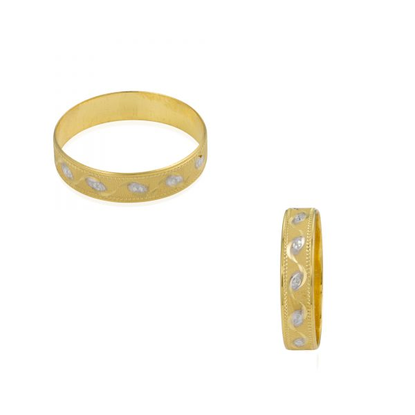 22ct Yellow Gold & Rhodium Wedding Band Ring 02
