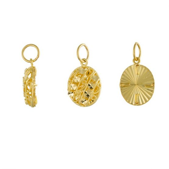 22ct Yellow Gold Ladies Pendant – Fancy Design / Oval Shape 02