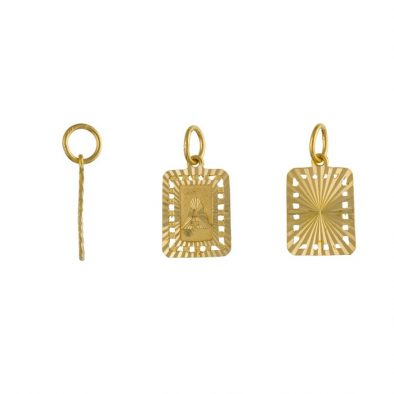 22ct Yellow Gold Initial Pendant – Rectangle Shape 01