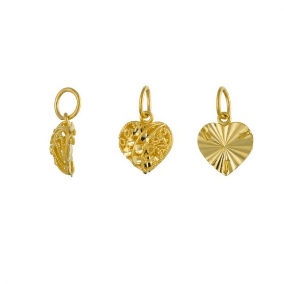 22ct Yellow Gold Ladies Pendant – Fancy Design / Heart Shape 02