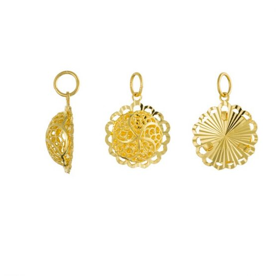 22ct Yellow Gold Ladies Pendant – Fancy Design / Round Shape 01