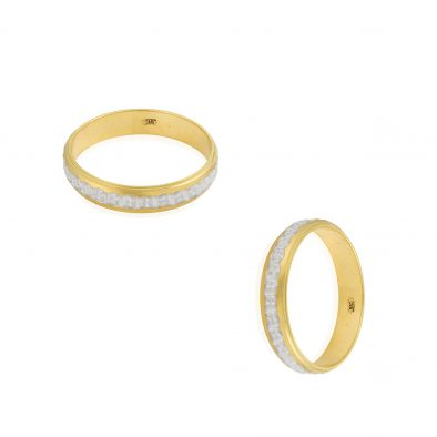 22ct Yellow Gold & Rhodium Wedding Band Ring 01