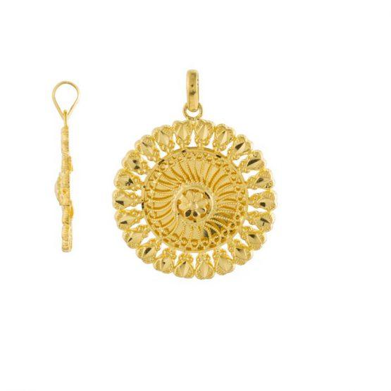 22ct Yellow Gold Ladies Heavy Pendant – Fancy Design / Round Shape 01