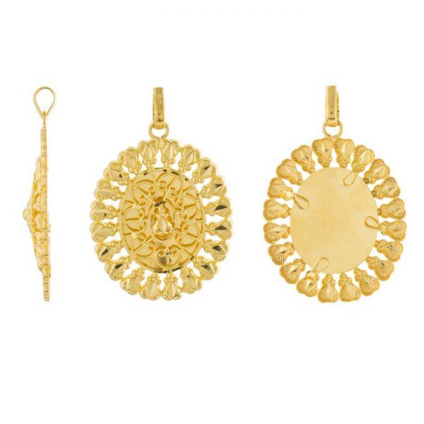 22ct Yellow Gold Ladies Heavy Pendant – Fancy Design / Oval Shape 01