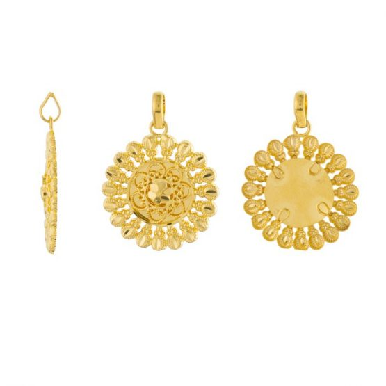 22ct Yellow Gold Ladies Heavy Pendant – Fancy Design / Round Shape 02
