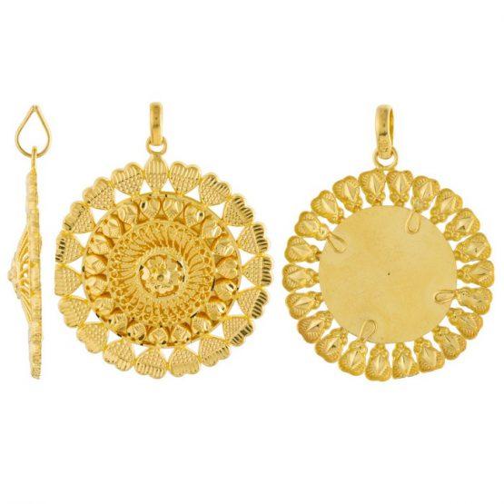 22ct Yellow Gold Ladies Heavy Pendant – Fancy Design / Round Shape 03