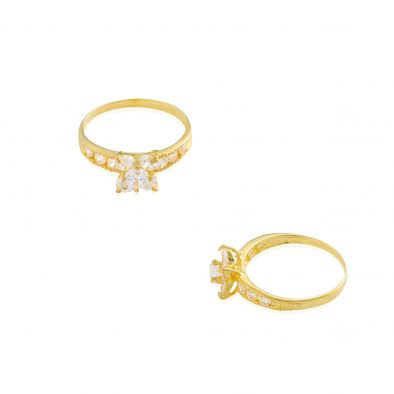 22ct Yellow Gold & CZ Stones Ladies Ring 10