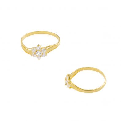 22ct Yellow Gold & CZ Stones Ladies Ring 11