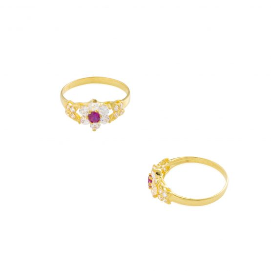 22ct Yellow Gold & CZ Stones Ladies Ring 14