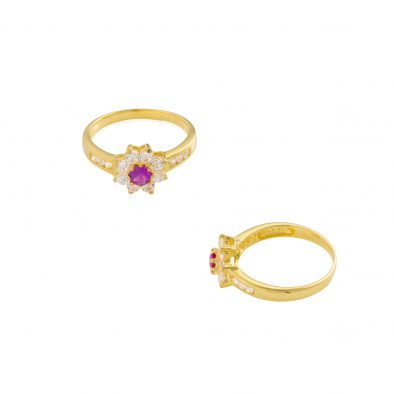 22ct Yellow Gold & CZ Stones Ladies Ring 15
