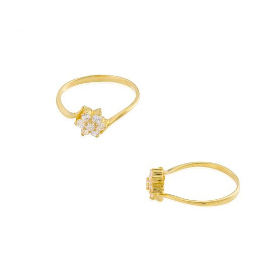 22ct Yellow Gold & CZ Stones Ladies Ring 16