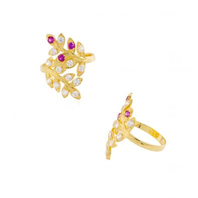 22ct Yellow Gold & CZ Stones Ladies Ring 01