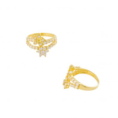 22ct Yellow Gold & CZ Stones Ladies Ring 19