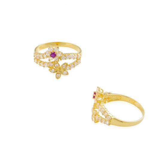 22ct Yellow Gold & CZ Stones Ladies Ring 24