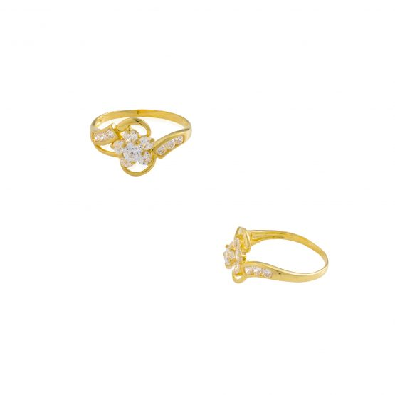 22ct Yellow Gold & CZ Stones Ladies Ring 02