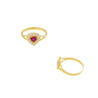 22ct Yellow Gold & CZ Stones Ladies Ring 03