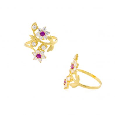 22ct Yellow Gold & CZ Stones Ladies Ring 05