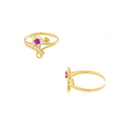 22ct Yellow Gold & CZ Stones Ladies Ring 07