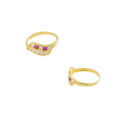 22ct Yellow Gold & CZ Stones Ladies Ring 08