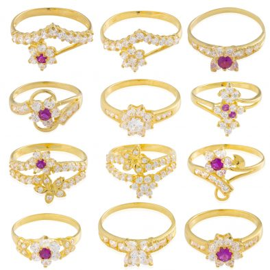 22ct Yellow Gold & CZ Stones Ladies Rings – Mixed Design Bundle 07