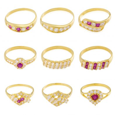 22ct Yellow Gold & CZ Stones Ladies Rings – Mixed Design Bundle 08