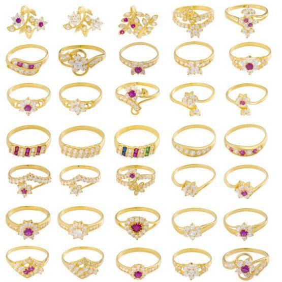 22ct Yellow Gold & CZ Stones Ladies Rings – Mixed Design Bundle 01