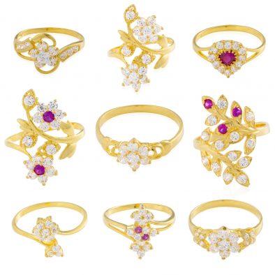 22ct Yellow Gold & CZ Stones Ladies Rings – Mixed Design Bundle 10