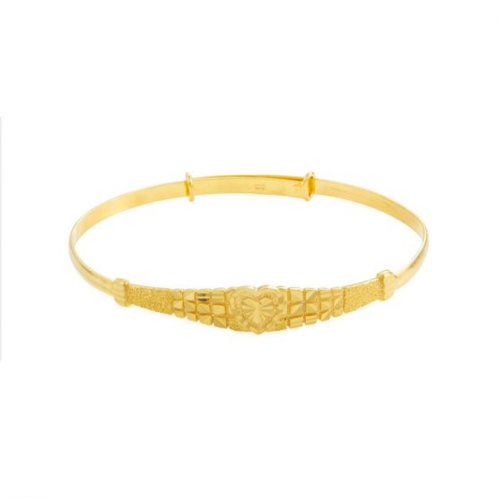 22ct Yellow Gold Baby Bangle - Heart Design (Adjustable) 01