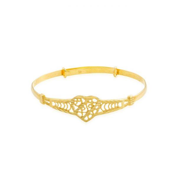 22ct Yellow Gold Baby Bangle - Heart Design (Adjustable) 03