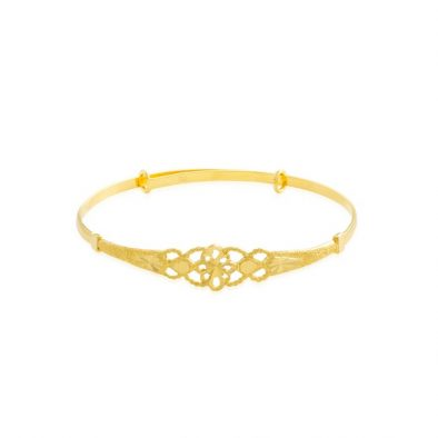 22ct Yellow Gold Baby Bangle - Flower Design (Adjustable) 01
