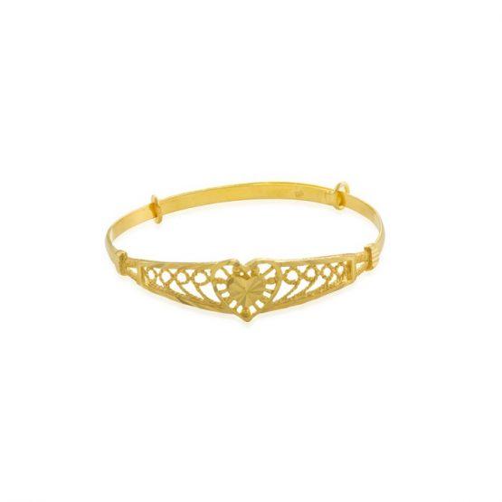 22ct Yellow Gold Baby Bangle – Heart Design (Adjustable) 04