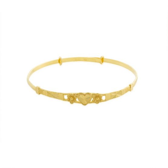 22ct Yellow Gold Baby Bangle - Heart Design (Adjustable) 02
