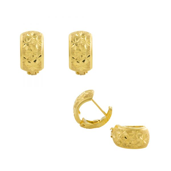 22ct Yellow Gold Earrings – Gypsy Clip Design 01