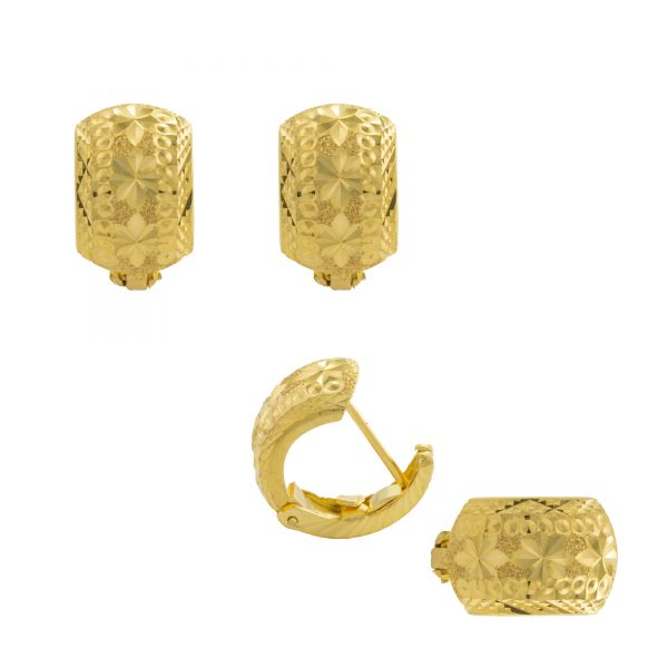 22ct Yellow Gold Earrings – Gypsy Clip Design 03