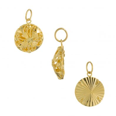22ct Yellow Gold Ladies Pendant – Fancy Design / Round Shape 02