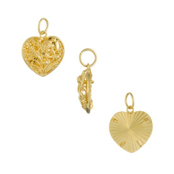 22ct Yellow Gold Ladies Pendant – Fancy Design / Heart Shape 04
