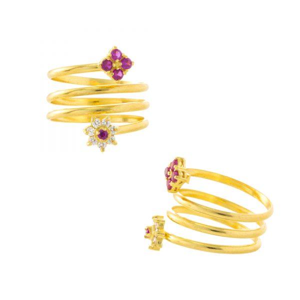 22ct Yellow Gold & CZ Stones Ladies Ring – Fancy Design / Spring Shape 02