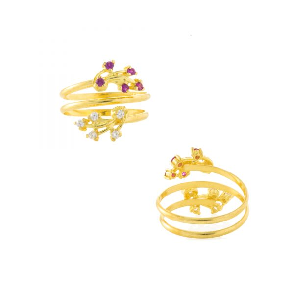 22ct Yellow Gold & CZ Stones Ladies Ring – Fancy Design / Spring Shape 04