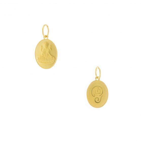 22ct Yellow Gold Pendant – Tamil OM / Goddess Gaja-Lakshmi Coin Design 02
