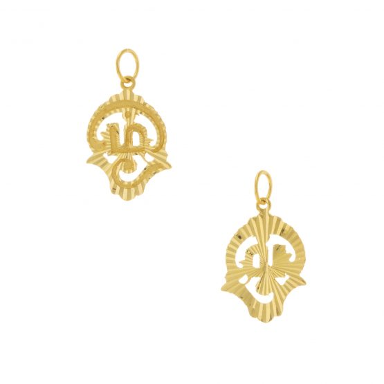 22ct Yellow Gold Pendant – Tamil OM Design 02