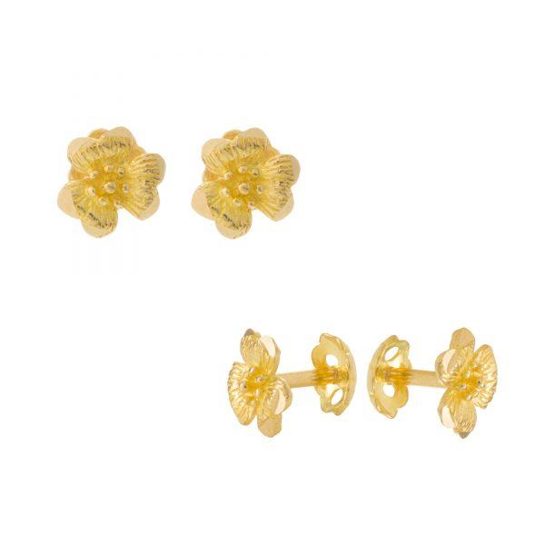22ct Yellow Gold Stud Earrings – Plain 01