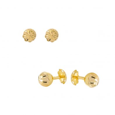 22ct Yellow Gold Stud Earrings – Plain 02